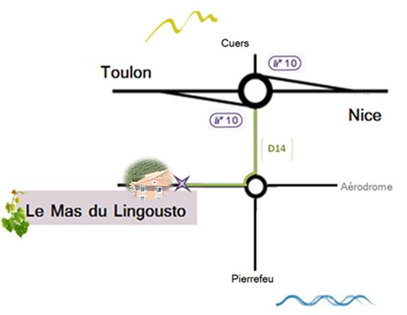 plan d'accès à l'Hôtel Restaurant Le Lingousto à Cuers (Var)